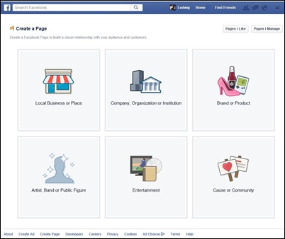 Facebook - Create a Page